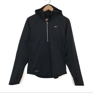 Nike Dri-Fit Black Half Zip Hooded Running Jacket